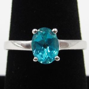 Vintage Size 8 Sterling Stunning Blue Spinel Ring